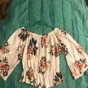 Tops - NWOT off the shoulder floral top!🌸🌼